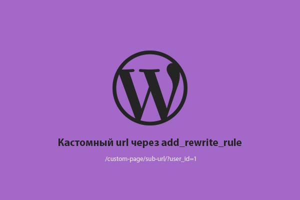 WP Custom url with rewrite rule